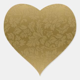 Elegant Gold Monochromatic Floral Damasks Pattern Heart Sticker