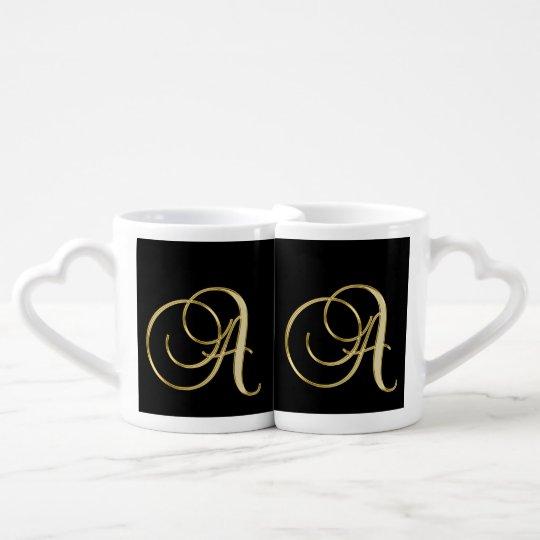 Elegant Gold Monogram Black and White His &