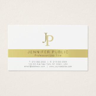Elegant Gold Monogram Professional Modern White Business Card