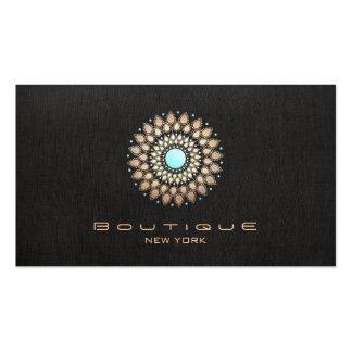 Elegant Gold Motif Chic Faux Black Linen Modern Pack Of Standard Business Cards
