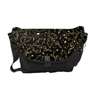 Elegant Gold Music Notes On Black Messenger Bag
