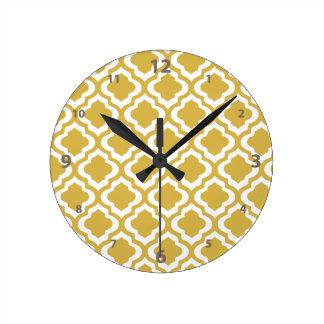 Elegant Gold Mustard Moroccan Quatrefoil Clover Wallclocks