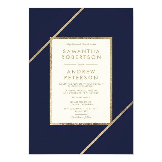 Navy Blue And Ivory Wedding Invitations: Elegant Gold Navy Blue Ivory Stripe Modern Wedding