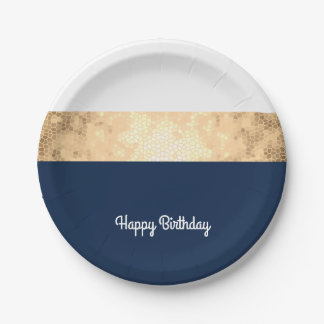elegant gold navy blue white stripes your text 7 inch paper plate