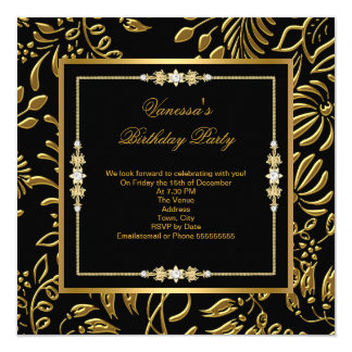Elegant Gold on Black Damask Floral Birthday Party 13 Cm X 13 Cm Square Invitation Card