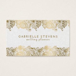 Elegant Gold On White Paisley Wedding Planner
