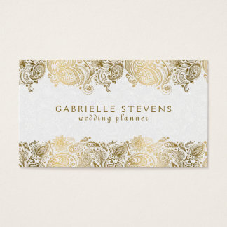 Elegant Gold On White Paisley Wedding Planner Business Card