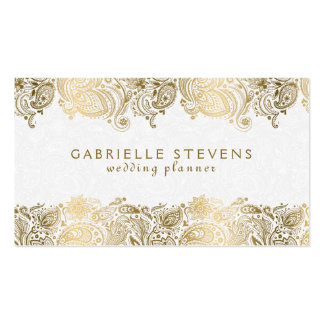 Elegant Gold On White Paisley Wedding Planner Pack Of Standard Business Cards