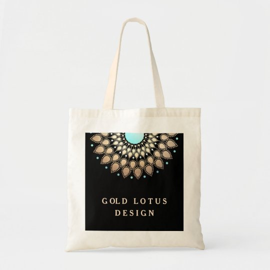 Elegant Gold Ornate Lotus Mandala Tote Bag