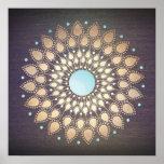 Elegant Gold Ornate Lotus Mandala Wood Poster