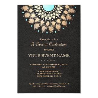 Elegant Gold Ornate Motif Black Linen Look Formal 13 Cm X 18 Cm Invitation Card