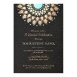 Elegant Gold Ornate Motif Black Linen Look Formal Personalized Invitation