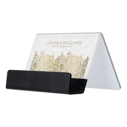 Elegant Gold Paisley Lace On Plush White Desk Business Card Holder