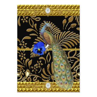 Elegant Gold  Peacock Invitation