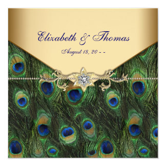 Elegant Gold Peacock Wedding 13 Cm X 13 Cm Square Invitation Card