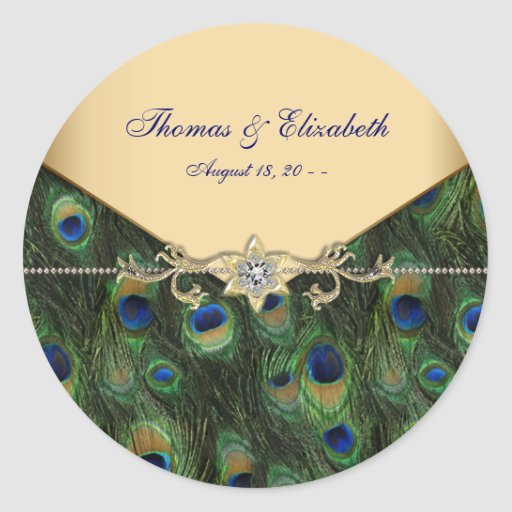 Elegant Gold Peacock Wedding Invitations Sticker