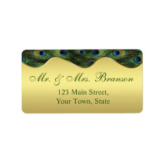 Elegant Gold Peacock Wedding Monogram Address Label