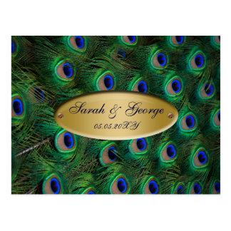 elegant gold peacock wedding RSVP Postcard