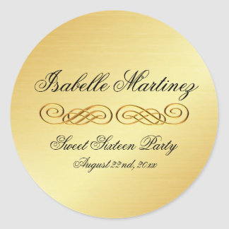 Elegant Gold Personalized Sweet Sixteen Sticker