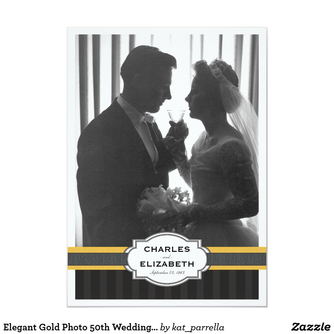 Elegant Gold Photo 50th Wedding Anniversary Party Card