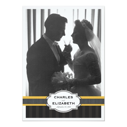 Elegant Gold Photo 50th Wedding Anniversary Party Card