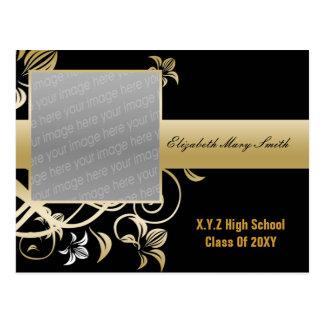 elegant gold photo Graduation Invitation Postcard