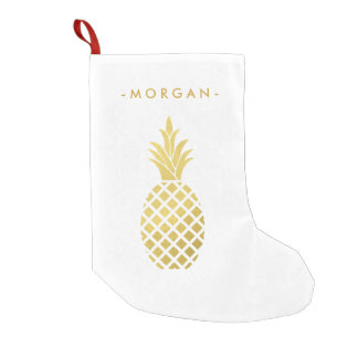 Elegant Gold Pineapple for Christmas Small Christmas Stocking