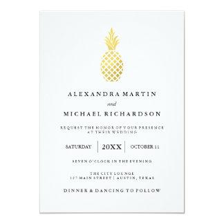 Elegant Gold Pineapple Wedding Invitation