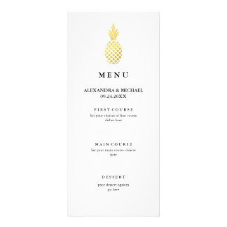 Elegant Gold Pineapple Wedding Menu Full Colour Rack Card