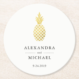 Elegant Gold Pineapple Wedding Round Paper Coaster