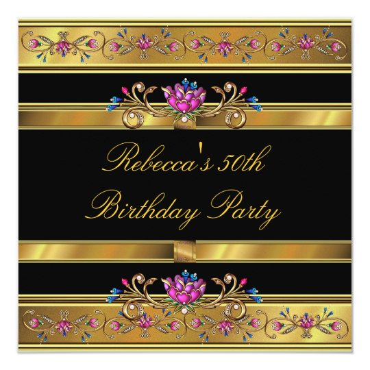 Elegant Gold Pink Floral 50th Birthday Party Black