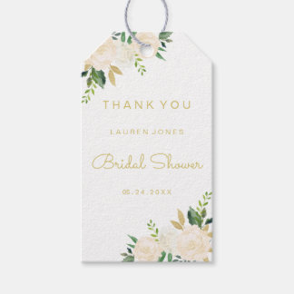 Elegant Gold Pink Floral Bridal Shower Tags