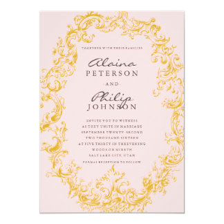 Elegant Gold & Pink Frame Wedding Invitation