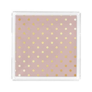 elegant gold pink polka dots acrylic tray
