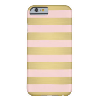 Elegant Gold Pink Stripes Metallic Luxury Barely There iPhone 6 Case