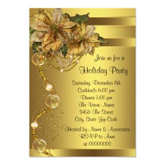 Elegant Gold Poinsettia Christmas Party Card