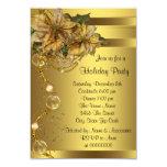 Elegant Gold Poinsettia Gold Christmas Party 9 Cm X 13 Cm Invitation Card