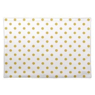 Elegant Gold Polka Dots on White Placemat