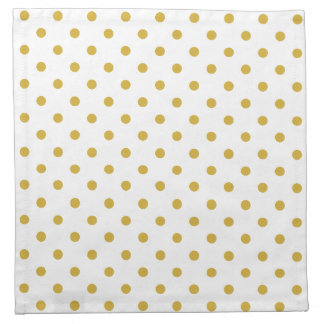 Elegant Gold Polka Dots Pattern on White Napkin