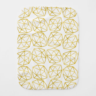 Elegant Gold Polygonal Unique Geometric Pattern Baby Burp Cloth