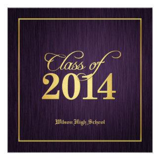 Elegant Gold Purple Class of 2014 Graduation Personalized Invite