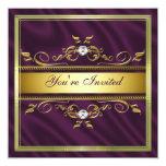 Elegant Gold Purple Silk/Satin Party Invitation Te