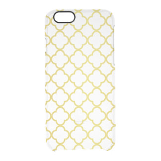 Elegant Gold Quatrefoil Pattern Transparent Clear iPhone 6/6S Case