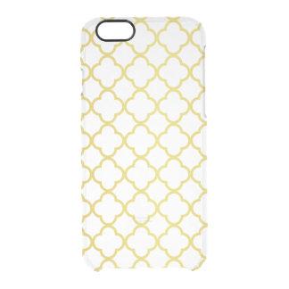 Elegant Gold Quatrefoil Pattern Transparent iPhone 6 Plus Case