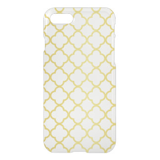 Elegant Gold Quatrefoil Pattern Transparent iPhone 7 Case