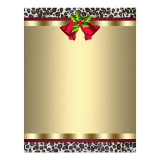 Elegant Gold Red Leopard Christmas Letterhead 21.5 Cm X 28 Cm Flyer