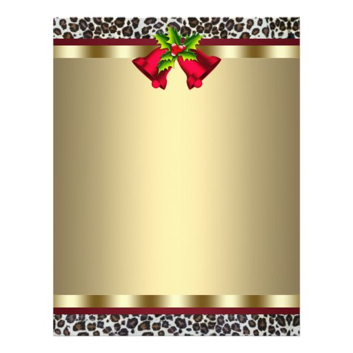 Elegant Gold Red Leopard Christmas Letterhead Flyers