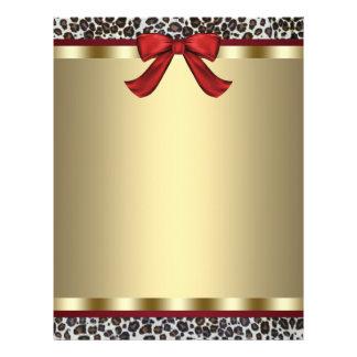 Elegant Gold Red Leopard Letterhead Personalized Flyer