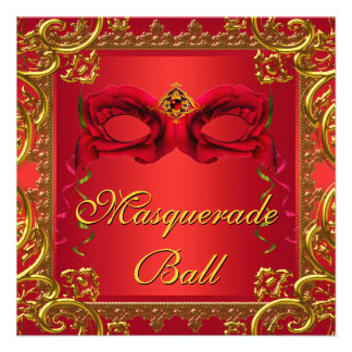 Elegant Gold Red Mask Red Masquerade Ball Party Personalized Invite