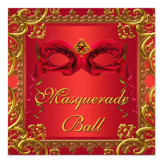 Elegant Gold Red Mask Red Masquerade Party Card